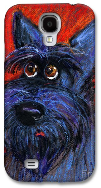Austin Drawings Galaxy S4 Cases - whimsical Schnauzer dog painting Galaxy S4 Case by Svetlana Novikova