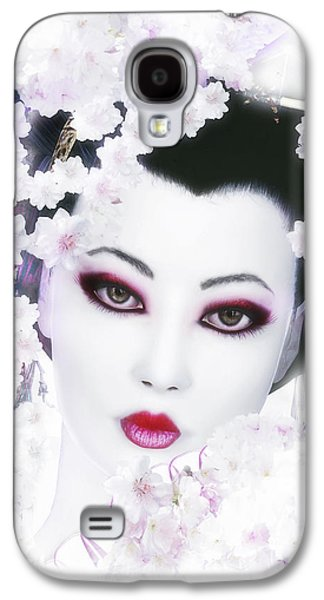 Cherry Blossoms Digital Art Galaxy S4 Cases - White Cherry Blossom Geisha Galaxy S4 Case by Shanina Conway