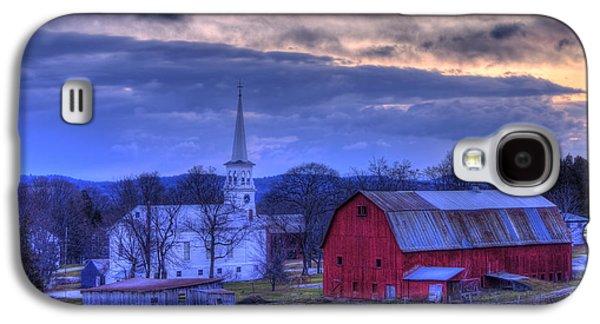 White Church And Red Barn - Peacham Vermont Galaxy S4 Case by Joann Vitali