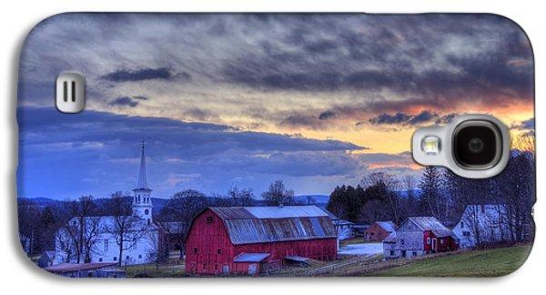 White Church Red Barn Country Scene - Peacham Vermont Galaxy S4 Case by Joann Vitali