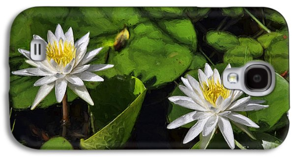Lilly Pad Galaxy S4 Cases - White Duo Galaxy S4 Case by Deborah Benoit
