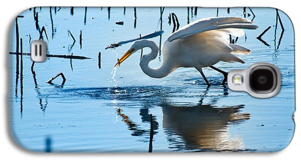 Refuge Galaxy S4 Cases - White Egret At Horicon Marsh Wisconsin Galaxy S4 Case by Steve Gadomski