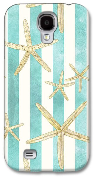 White Finger Starfish Watercolor Stripe Pattern Galaxy S4 Case by Audrey Jeanne Roberts