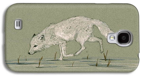 White Fox Walking Galaxy S4 Case by Juan  Bosco