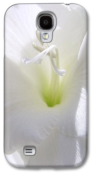 Gladiolas Galaxy S4 Cases - White Gladiola Flower Macro Galaxy S4 Case by Jennie Marie Schell