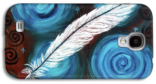 Wicca Paintings Galaxy S4 Cases - White Hawk Feather Galaxy S4 Case by Laura Iverson