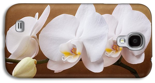Botanical Galaxy S4 Cases - White Orchid Flowers and Bud Galaxy S4 Case by Tom Mc Nemar