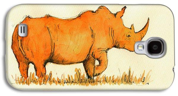 Rhinoceros Paintings Galaxy S4 Cases - White Rhino Orange Galaxy S4 Case by Juan  Bosco