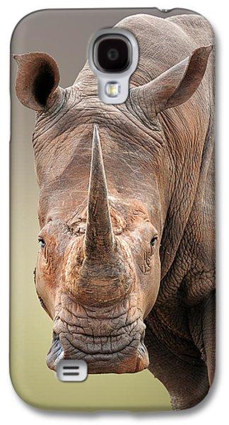 Fauna Galaxy S4 Cases - White Rhinoceros portrait Galaxy S4 Case by Johan Swanepoel