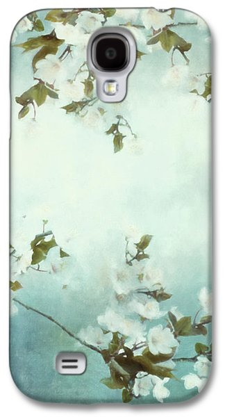 Cherry Blossoms Mixed Media Galaxy S4 Cases - White Sakura Blossoms Galaxy S4 Case by Shanina Conway