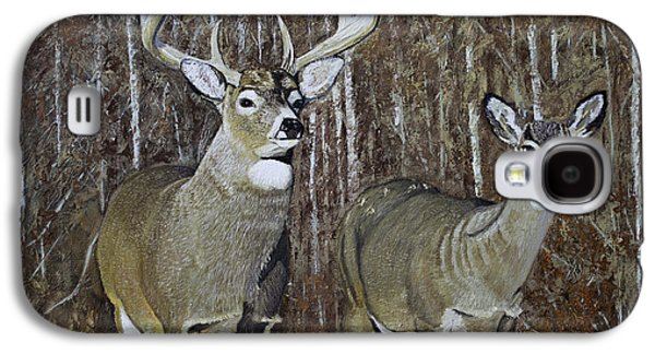 White Tail Couple 24x 24x3/4 Inch Oil On Canvas Galaxy S4 Case by Manuel Lopez
