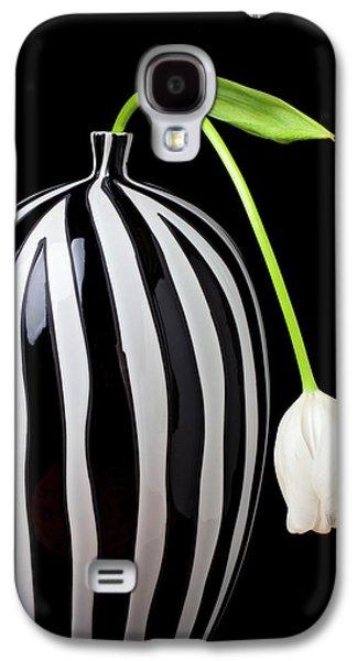 White Tulip In Striped Vase Galaxy S4 Case by Garry Gay