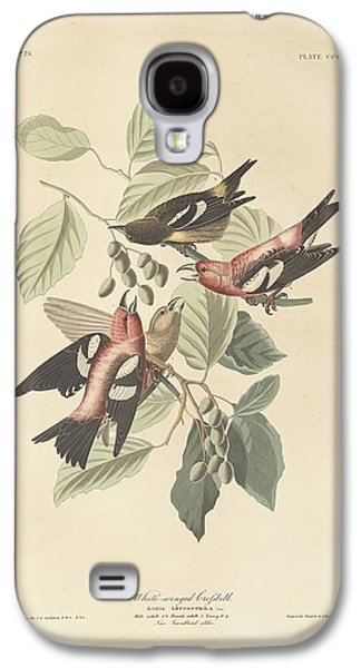19th Century America Galaxy S4 Cases - White Winged Crossbill Galaxy S4 Case by John James Audubon