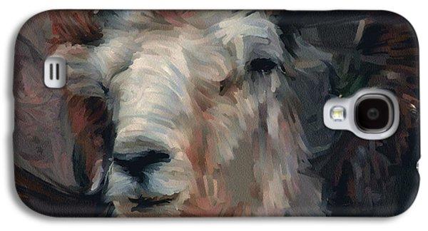 Goat Digital Art Galaxy S4 Cases - Wild Goat portrait Galaxy S4 Case by Yury Malkov
