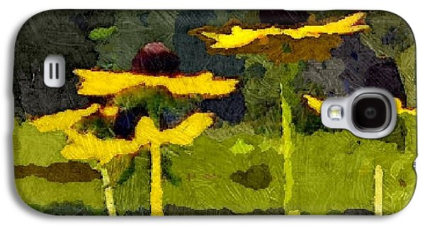 Abstracted Coneflowers Digital Galaxy S4 Cases - Wild Yellow Coneflowers 26 Galaxy S4 Case by Don Berg