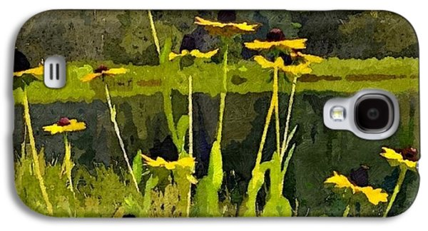 Abstracted Coneflowers Digital Galaxy S4 Cases - Wild Yellow Coneflowers 30 Galaxy S4 Case by Don Berg
