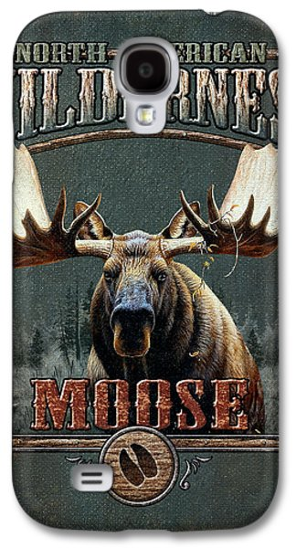 Retro Antique Galaxy S4 Cases - Wilderness Moose Galaxy S4 Case by JQ Licensing