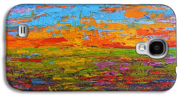 Wildflower Field At Sunset - Modern Impressionist Oil Palette Knife Painting Galaxy S4 Case by Patricia Awapara