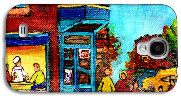 Montreal Storefronts Paintings Galaxy S4 Cases - Wilenskys Lunch Counter With School Bus Montreal Street Scene Galaxy S4 Case by Carole Spandau