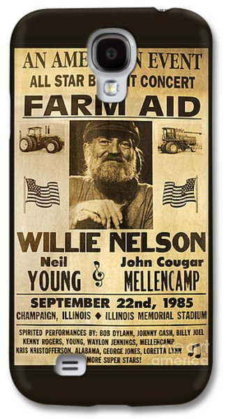 Willie Nelson Neil Young 1985 Farm Aid Poster Galaxy S4 Case by John Stephens