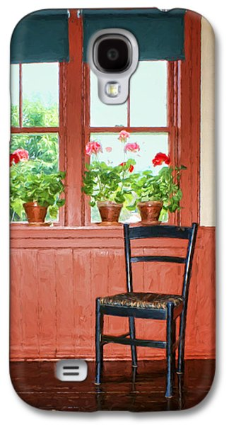 Ladder Back Chairs Galaxy S4 Cases - Window - Chair - Geraniums Galaxy S4 Case by Nikolyn McDonald