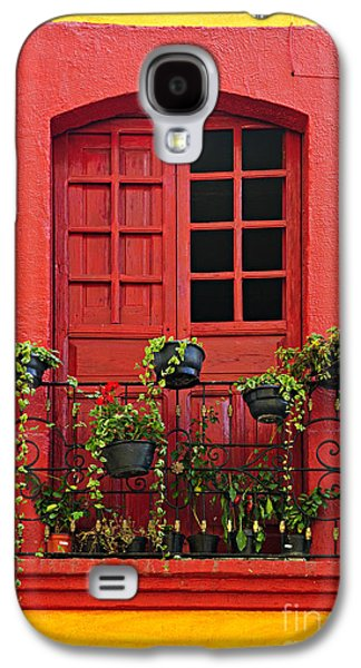 Painted Details Galaxy S4 Cases - Window on Mexican house Galaxy S4 Case by Elena Elisseeva