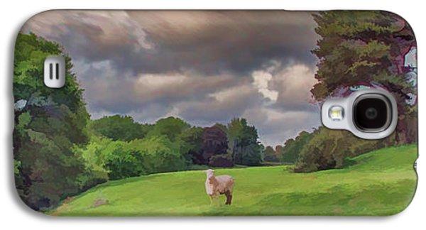 Sheep Digital Art Galaxy S4 Cases - Windswept hills Galaxy S4 Case by Sharon Lisa Clarke