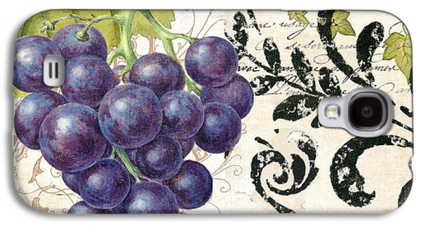 Italian Wine Paintings Galaxy S4 Cases - Wine Grapes and Damask Galaxy S4 Case by Mindy Sommers