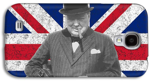World War 2 Galaxy S4 Cases - Winston Churchill and His Flag Galaxy S4 Case by War Is Hell Store