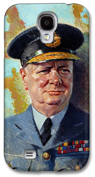 Patriotic Paintings Galaxy S4 Cases - Winston Churchill In Uniform Galaxy S4 Case by War Is Hell Store