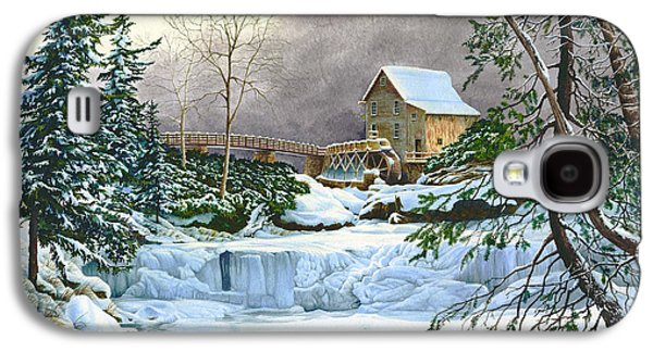 Grist Mill Paintings Galaxy S4 Cases - Winter at the Mill Glade Creek Grist Mill West Virginia Galaxy S4 Case by Richard Devine
