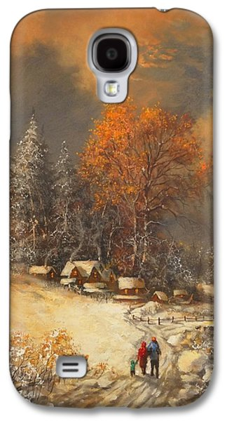 Snow Scene Paintings Galaxy S4 Cases - Winter Classic Galaxy S4 Case by Tom Shropshire