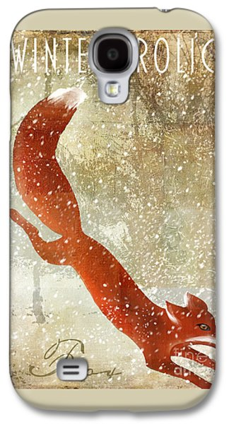 Grazing Snow Galaxy S4 Cases - Winter Game Fox Galaxy S4 Case by Mindy Sommers