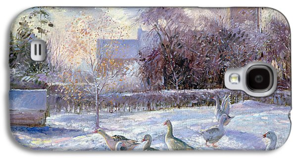 Winter Geese In Church Meadow Galaxy S4 Case by Timothy Easton