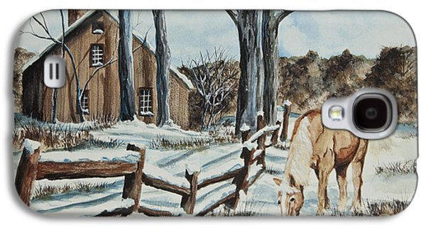 Split Rail Fence Galaxy S4 Cases - Winter Grazing  Galaxy S4 Case by Charlotte Blanchard