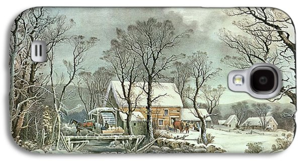 Grist Mill Paintings Galaxy S4 Cases - Winter in the Country - the Old Grist Mill Galaxy S4 Case by Currier and Ives