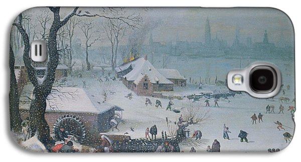 Winter Fun Paintings Galaxy S4 Cases - Winter Landscape Galaxy S4 Case by Lucas Van Valckenborch