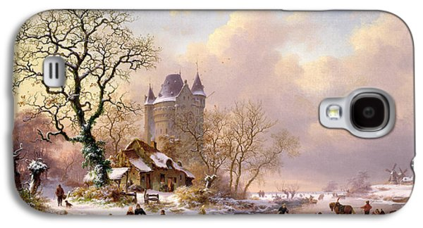 Winter Landscape With Castle Galaxy S4 Case by Frederick Marianus Kruseman