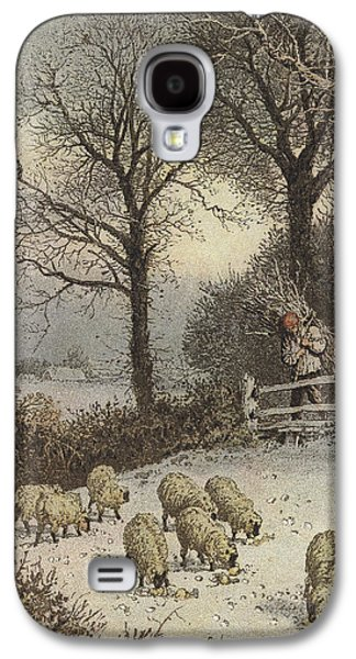 Hay Paintings Galaxy S4 Cases - Winter Galaxy S4 Case by Myles Birket Foster