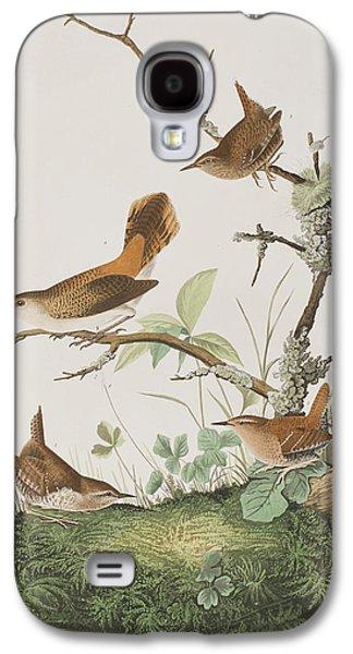 Winter Prints Galaxy S4 Cases - Winter Wren or Rock Wren Galaxy S4 Case by John James Audubon