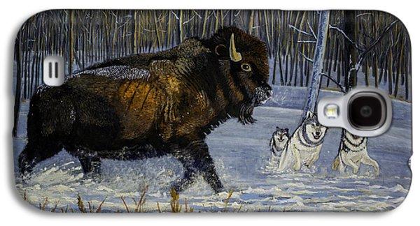 Winter's Hunt  48x30x1 Inch Oil On Gallery Canvas Galaxy S4 Case by Manuel Lopez