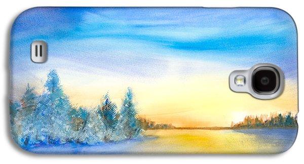 Winter Scene Pastels Galaxy S4 Cases - Wintery Season Galaxy S4 Case by David Zamudio