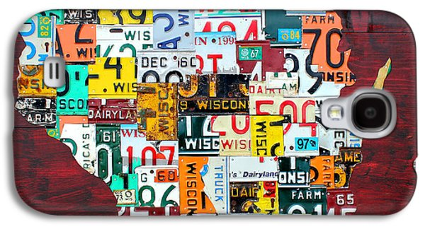 Wisconsin Counties Vintage Recycled License Plate Map Art On Red Barn Wood Galaxy S4 Case by Design Turnpike