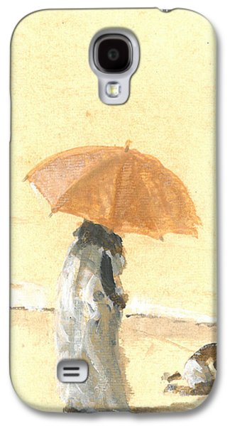 Women Together Galaxy S4 Cases - Woman and Child on Beach Galaxy S4 Case by Lincoln Seligman