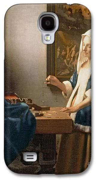 Woman Holding A Balance Galaxy S4 Case by Jan Vermeer