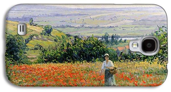 Woman In A Poppy Field Galaxy S4 Case by Leon Giran Max