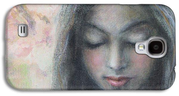 Innocence Mixed Media Galaxy S4 Cases - Woman praying meditation painting print Galaxy S4 Case by Svetlana Novikova