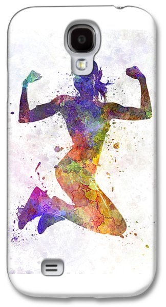 Woman Runner Jogger Jumping Powerful Galaxy S4 Case by Pablo Romero
