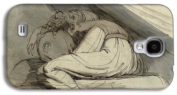 Swiss Drawings Galaxy S4 Cases - Woman Sitting Curled Up Galaxy S4 Case by Henry Fuseli