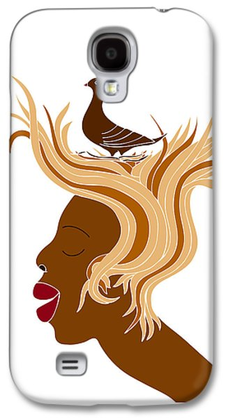 Thought Drawings Galaxy S4 Cases - Woman with bird Galaxy S4 Case by Frank Tschakert